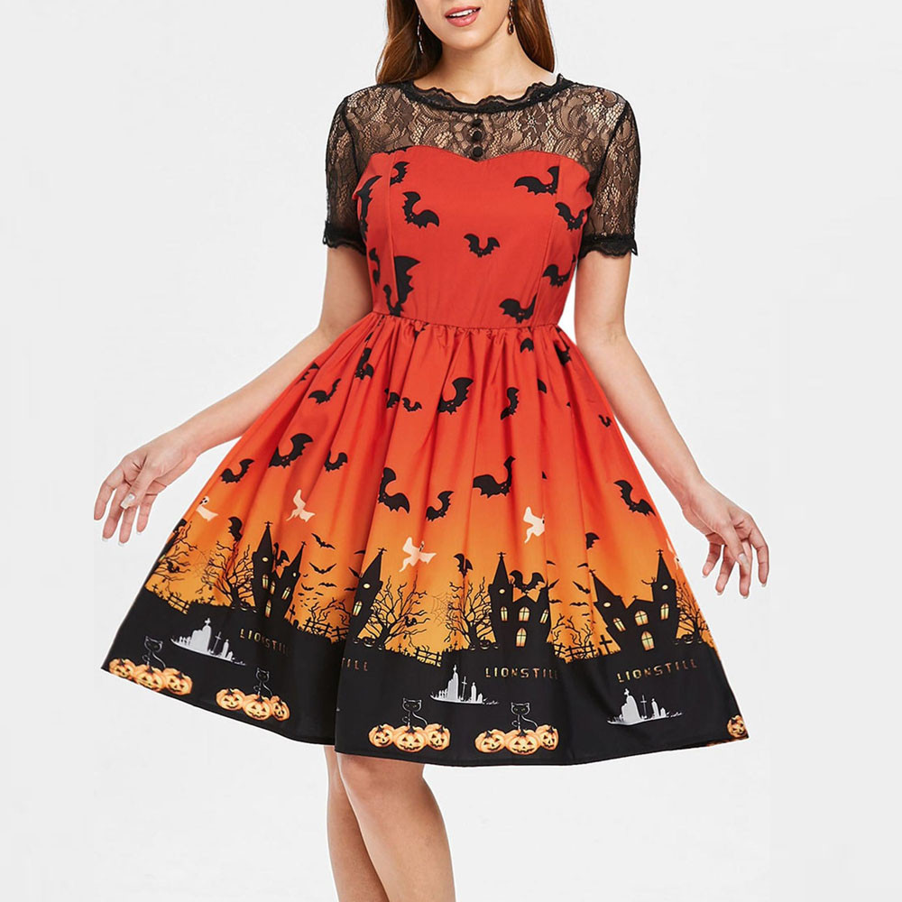 DROPSHIP 2020 New Arrival Hot Summer Women Halloween Retro Lace Vintage Dress A Line Pumpkin Swing Dress 5 Colors S-3XL #J06