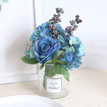 Artificial Rose Flowers Silk Blue Bouquts For Bridal Wedding Hand And  Pompom Wreaths Decoration Supplies