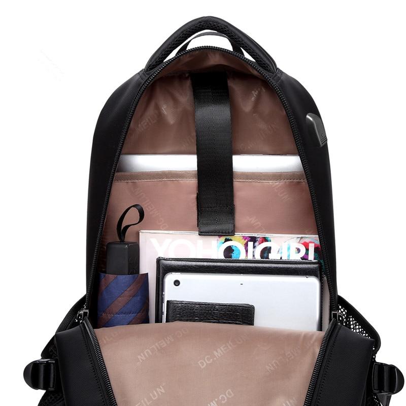"Купить с кэшбэком FANLOSN Durable Nylon Backpack Female Men's Backpacks for 15.6"" Laptop Women Notebook Bag Mochila Leisure School Backpack USB"
