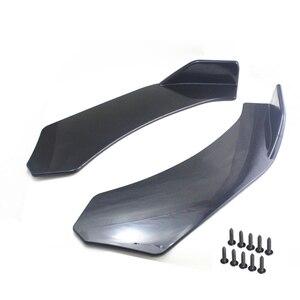 Image 2 - 2 stücke Schwarz Auto Vorderen Stoßfänger Diffusor Stoßstange Canard Lip Body Schaufeln Splitter Lip Body Protector Kit