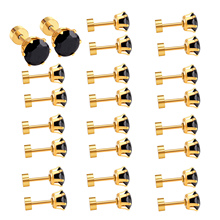 Brand New 12pairs/lot Black Screw Plug Earring For Wholesale Customers,Good Price With High quality