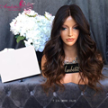 Middle part Wavy  Lace Front Human Hair Wigs 1b/#30 ombre 150% Density body wave Brazilian Human Hair Glueless Full Lace Wigs