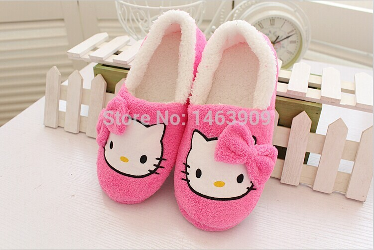 Aliexpress 2017 Winter Home Slippers For Women Cartoon Hello Kitty Indoor Shoes Warm House Plush With Bowtie Loafers From Reliable