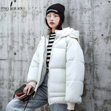PinkyIsblack 2019 New Winter Jacket Women Solid Fashion Cotton-padded Jacket More Big Yards Hooded Short Parkas Warm Bread Coat
