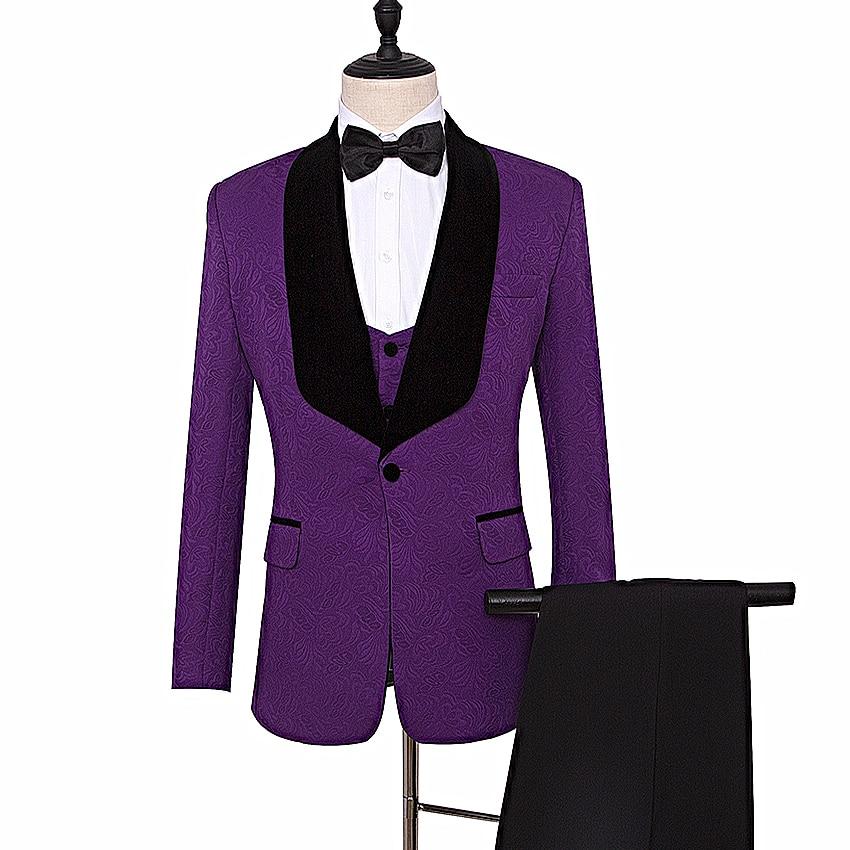 46328877e19d Groomsman Abiti Smoking Risvolto Sposa Blazer Viola Vestito Scialle purple Sposo  Pink Pantaloni Uomo Da Su Ve Red Dello ...