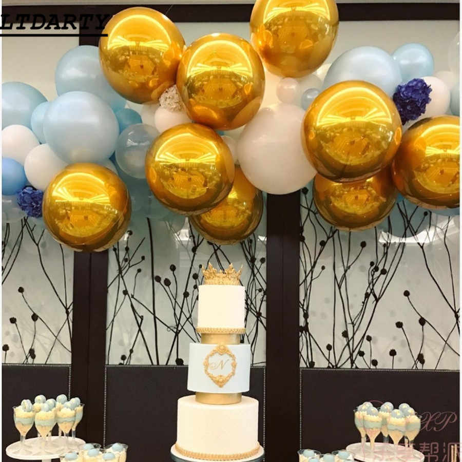 10pcs New 18inch glossy chrome metal 4D bubble gold silver wedding birthday party decoration balloons Helium Supplies kid gifts