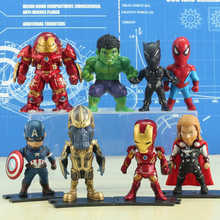 PVC maravilha Figuras de Ação & Toy Collectible Modelo Toy Thor Vingadores Homem de Ferro Hulk Spiderman Thanos Captian América Anime Presente(China)