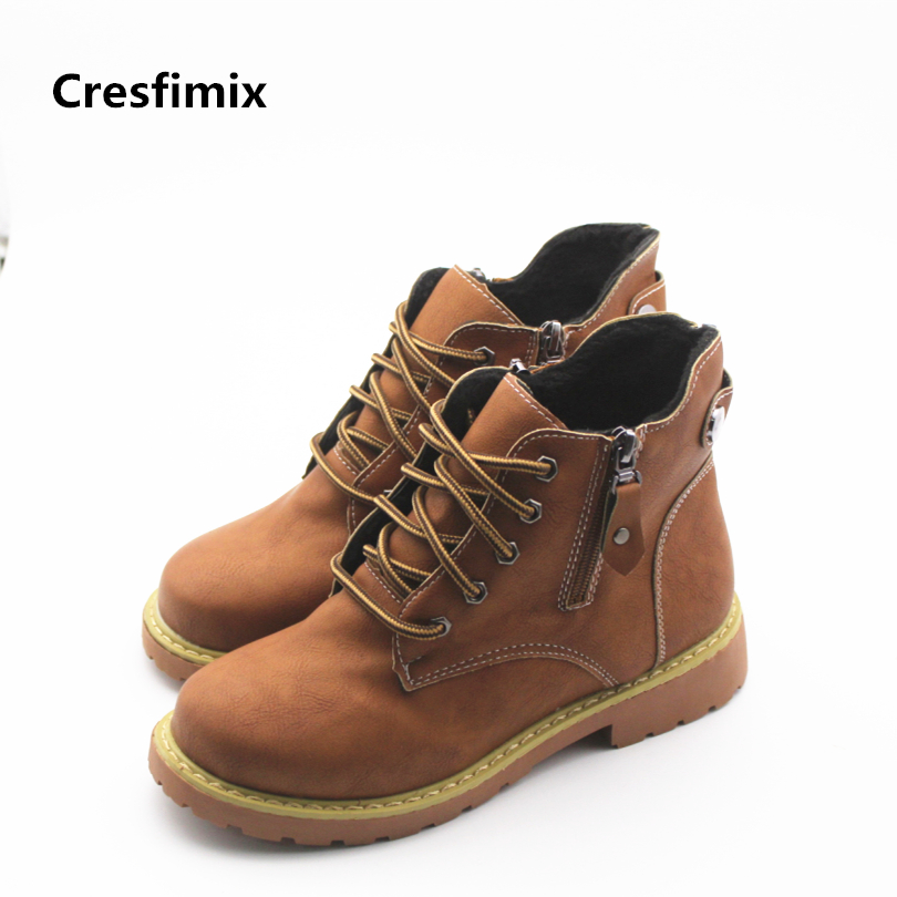 Cresfimix botas femininas women fashion spring and autumn boots female cute lace up boots with side zipper lady casual boots cresfimix sapatos femininas women casual soft pu leather flat shoes with side zipper lady cute spring
