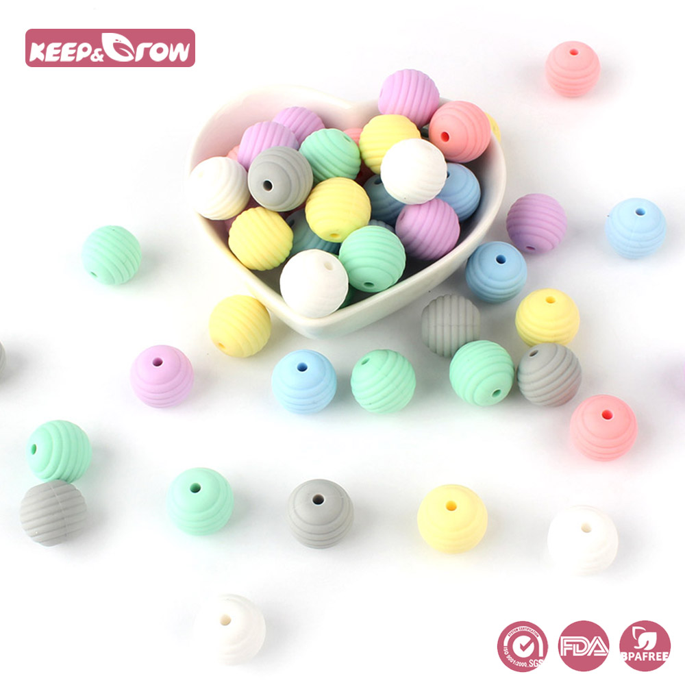 Keep&Grow 10pcs Thread Silicone Beads Baby Silicone Teethers Food Grade Pearl Silicone DIY Baby Pacifier Chain Pendant BPA Free