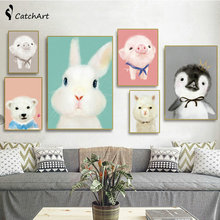 Hight Quality Pastoral Cute Animals Canvas Painting Nordic Alpaca Wall Art Kids Baby Room Decor Decoration No Frame
