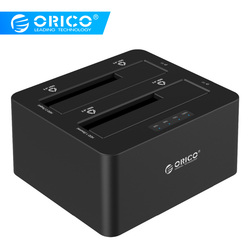 ORICO 6629US3-C 2 Bay SATA إلى USB3.0 محطة إرساء قرص صلب خارجي لـ 2.5/3.5HDD مع وظيفة النسخ/استنساخ-أسود