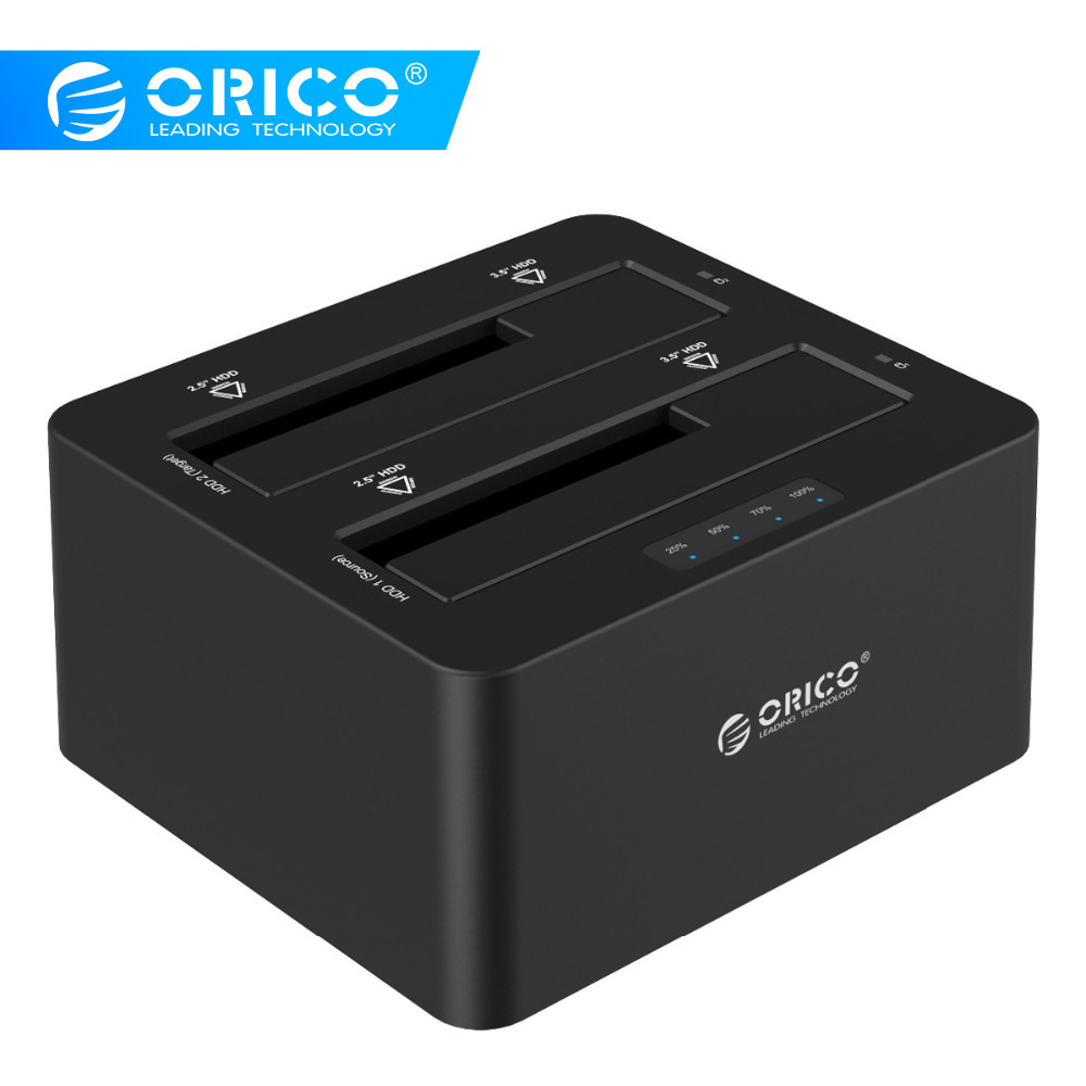 ORICO 6629US3-C 2 Bay SATA til USB3.0 Ekstern Harddisk Docking Station til 2.5 / 3.5HDD med Duplicator / Klon Funktion-Sort