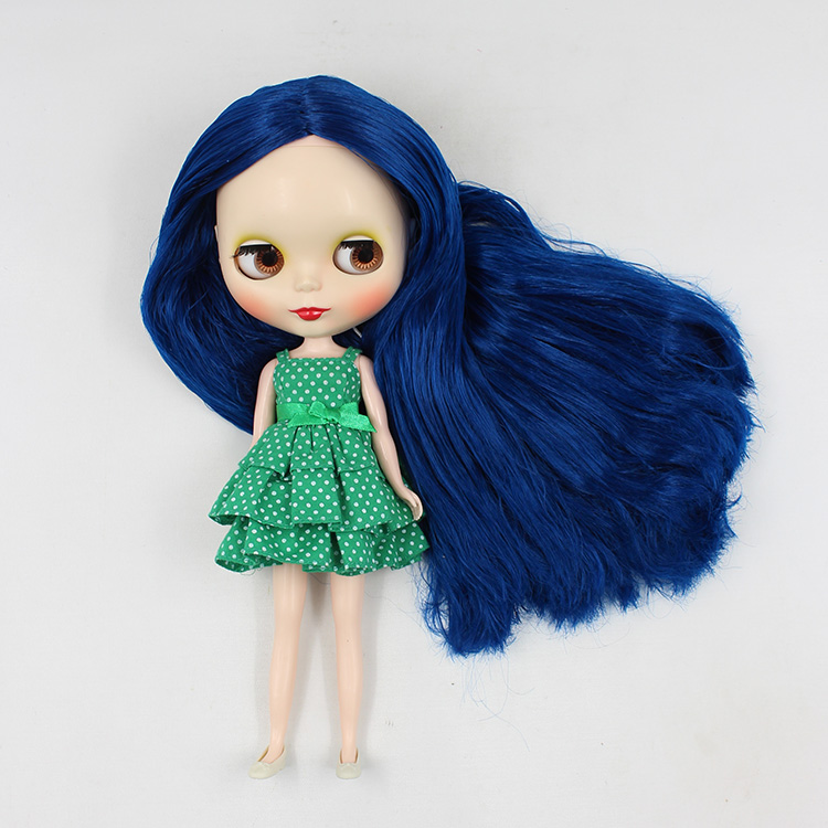 12 inch Nude Blyth doll B female doll modified DIY deep blue long hair big eyes doll 1/6 bjd dolls for sale