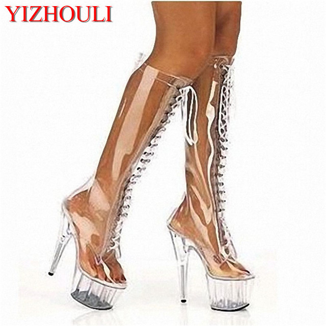be1ec0e74c8 15cm front strap high-heeled shoes sexy transparent fun women s shoes Very hot  sales boots 6 inch high fashion boots sexy shoes