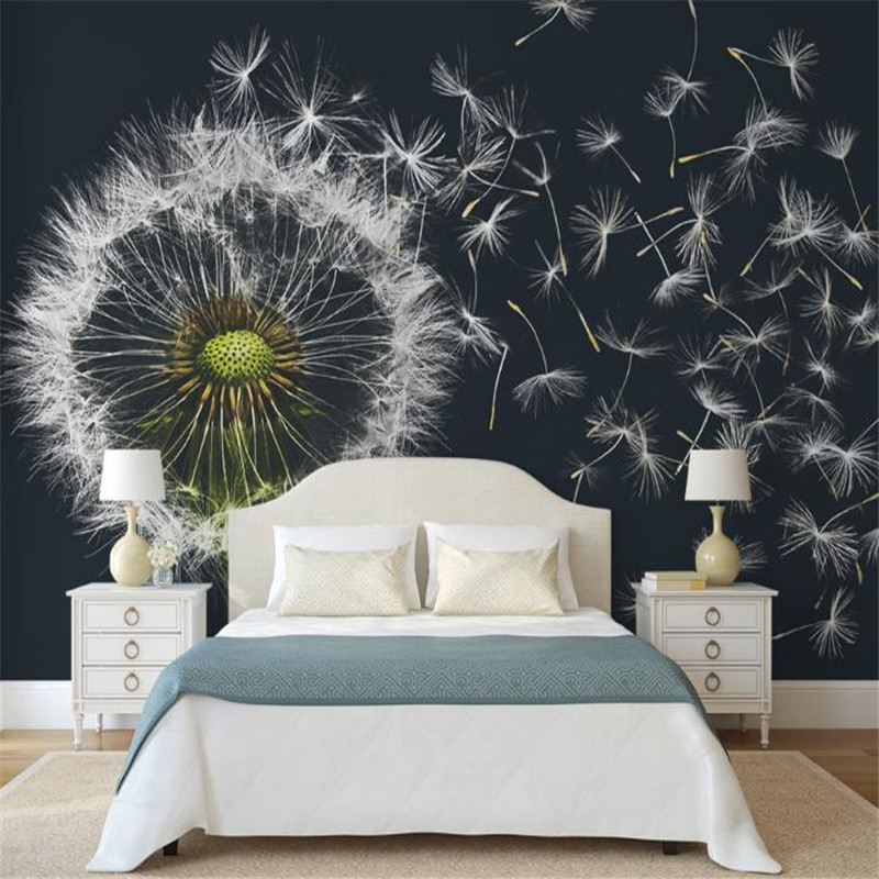 Black and White Wallpaper Desktop Wallpaper for Living Room Wall Dandelion 3 d Wall Picture Home Improvement Mural Bedroom Decor black dandelion wall sticker wallpaper page 3