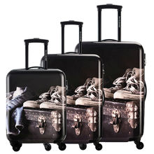 DAVIDJONES 3 Piece Vintage Print Luggage Set Spinner suitcase 20″ 24″ 28″ PC+ABS Travel Trolley DesignerRolling Bag For Girls