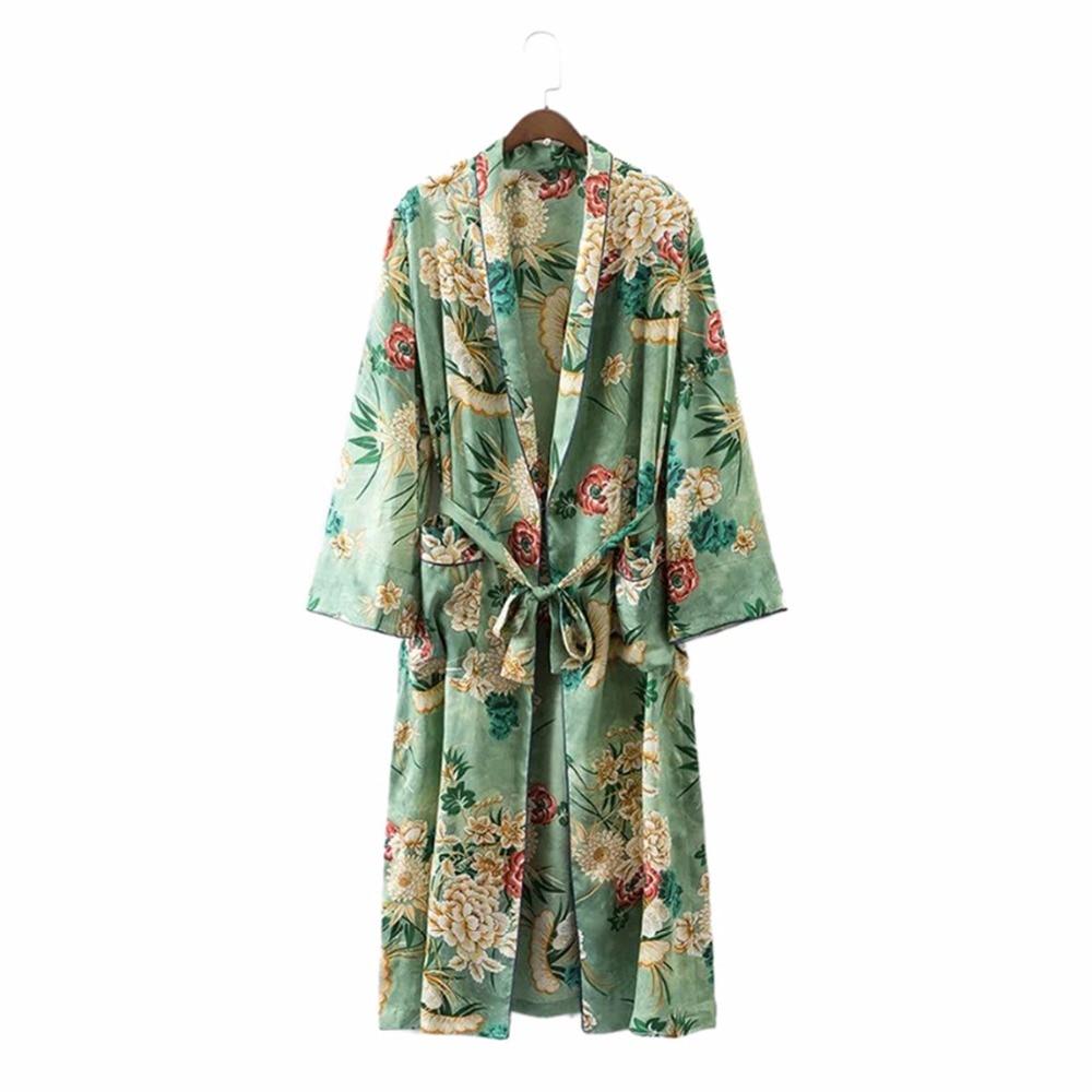 Sexy Kimono bata Chaqueta de punto Moda de mujer Verde Estampado floral fajas Disfraces Playa Blusa larga japonés chino boho kimono