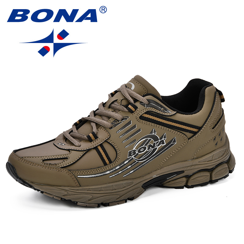 BONA Male New Fashion Sports Shoes Men Outdoor Cushioning Sneakers Split Leather Breathable Running Walking Shoes Free Shipping