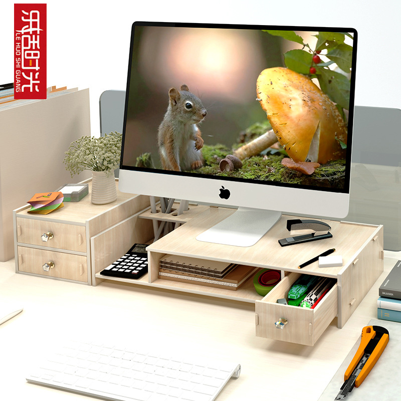 Office Computer Monitor Protect Neck Heightening Shelf Display Base Bracket Desktop Storage Box Wooden Finishing Rack