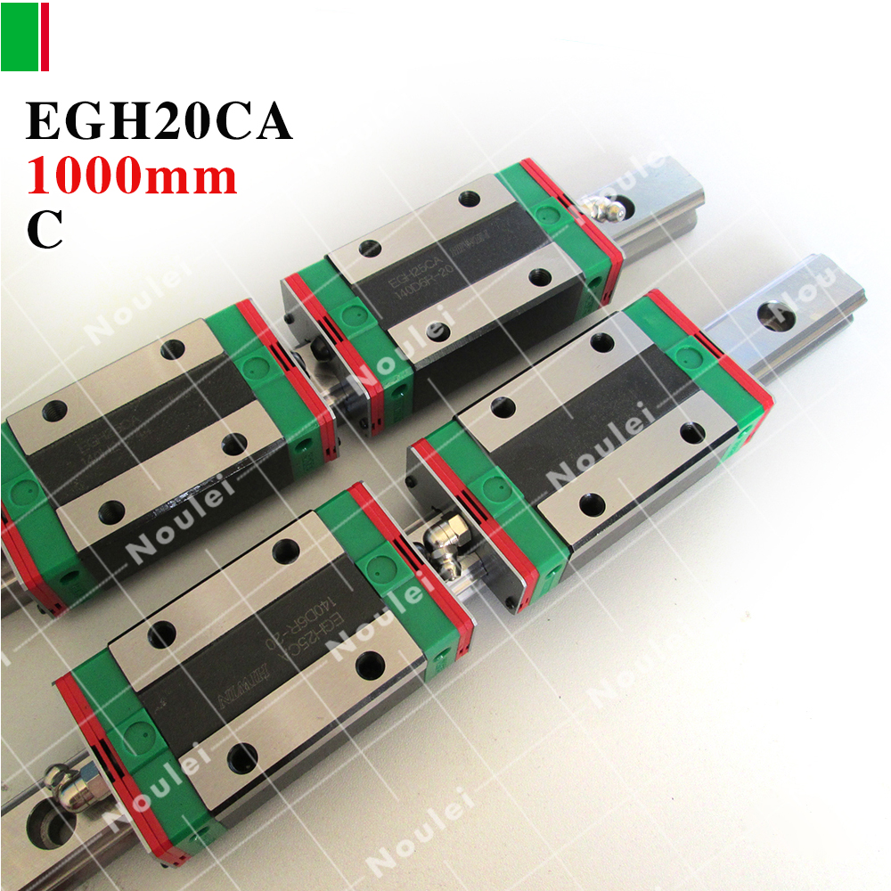 HIWIN EGH20CA slide block with 1000mm linear guide rail EGR20 for CNC parts guia linear 20 mm new linear guide 1pc hgr25 l 1000mm 2pcs hgh25ca cnc rail block linear block cnc parts