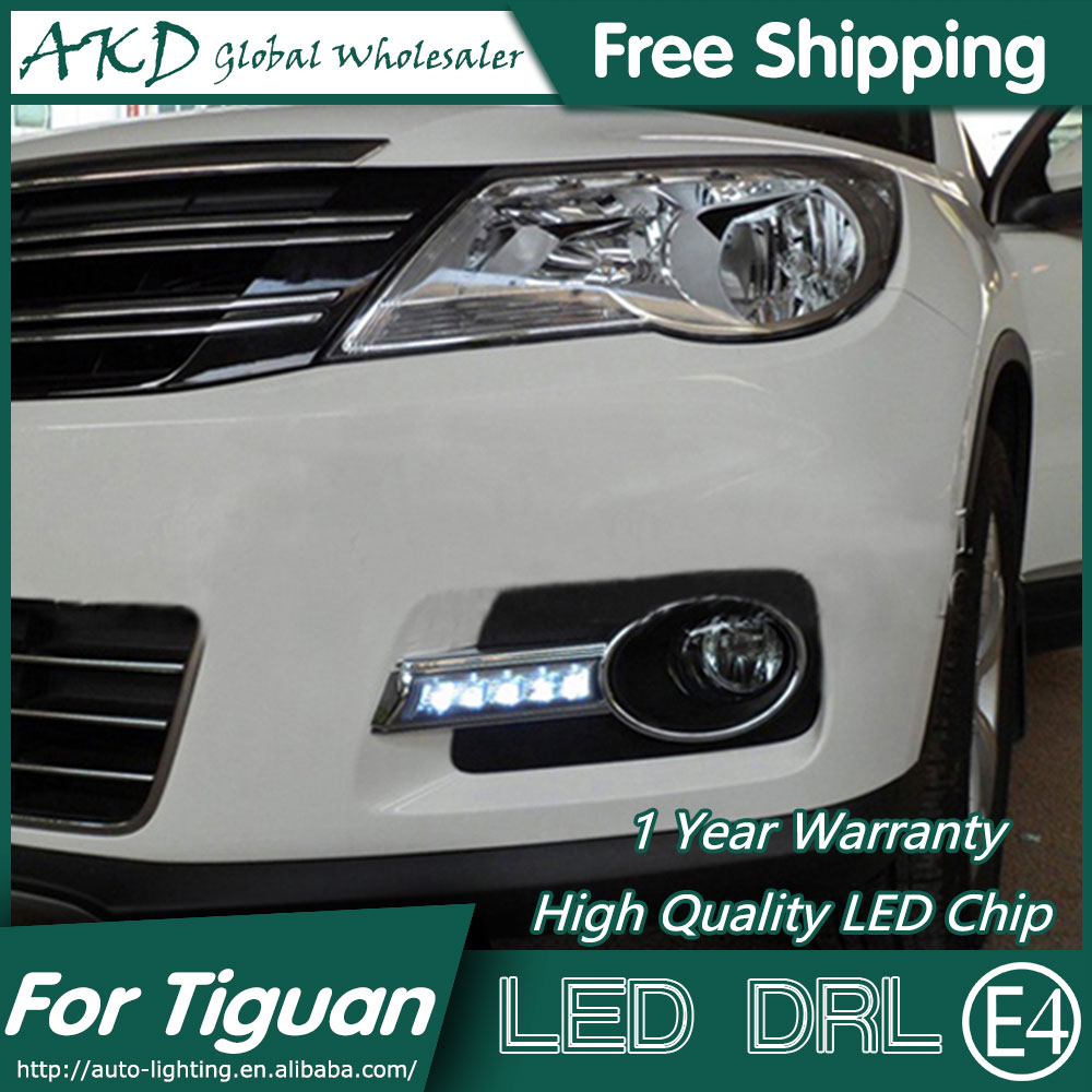 AKD Car Styling for VW Tiguan LED DRL 2009-2012 Tiguan LED Daytime Running Light Fog Light Signal Parking Accessories car rear trunk security shield cargo cover for volkswagen vw tiguan 2016 2017 2018 high qualit black beige auto accessories