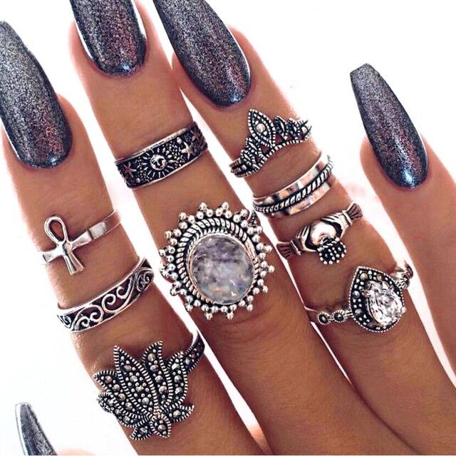 Meyfflin Punk Knuckle Ring Set Fashion Midi Finger Rings for Women Boho Jewelry