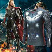 Cool The Thor Cosplay Costume Clothing Fitness Compression 3D Printed Shirt Mens Bodybuilding Long Sleeve T-Shirt Crossfit Tops