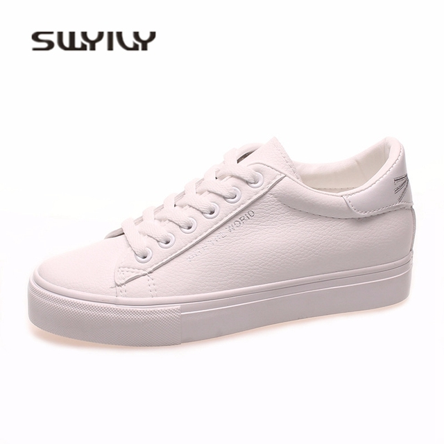 5d8a31c5ee SWYIVY White Sneakers Shoes Woman Gold Cut Cat Back 2018 Spring Inside Wedge  Heel Female Casual