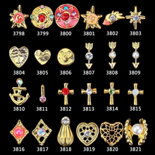 nail jewelry gold metal 100 Pcs / Lot Glitter Rhinestone Decoration Pearls For Nails Skull Shell Cross Charms 3D Crown Jewels