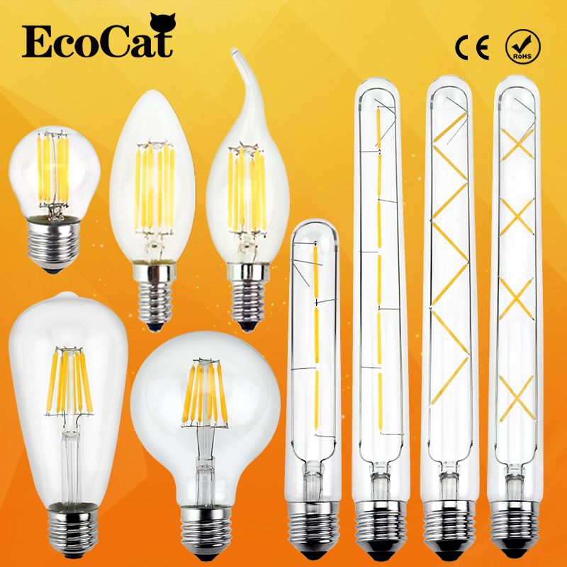 LED Edison Bulb E27 LED lamp E14 220V Antique Retro Vintage Filament Light  Glass Bulb Lamps 2w 4W 6w 7w 8W Light Lamp retro lamp st64 vintage led edison e27 led bulb lamp 110 v 220 v 4 w filament glass lamp