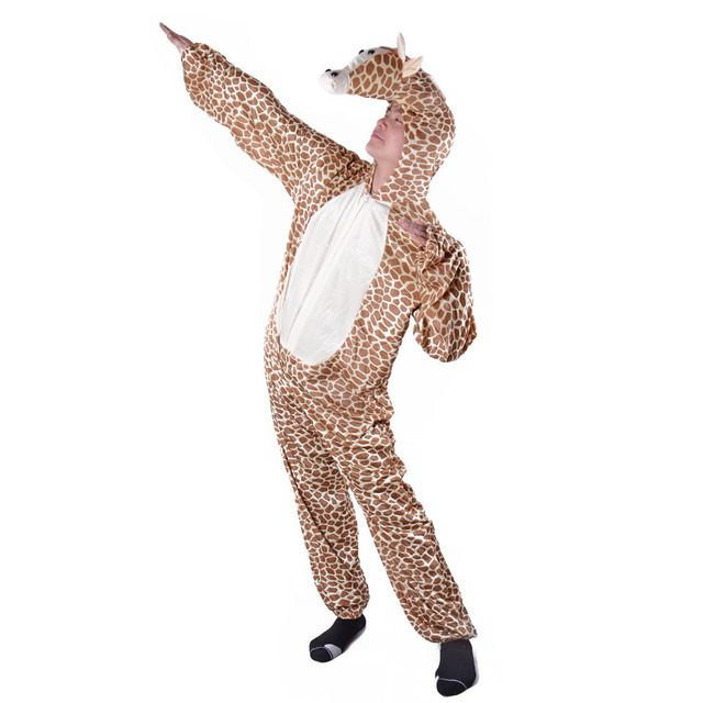 adult jolly giraffe costume animal onesie funny wild animal costume fancy dress fleece jumpsuit with hood