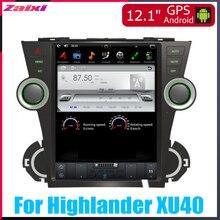 ZaiXi 12.1 Vertical screen android car gps multimedia video radio player in dash for Toyota Highlander XU40 2008~2013 car navi