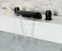 Масло Втирают Бронзовый Водопад Ванной Кран На Бортике Двойной Ручки Бассейна Краны