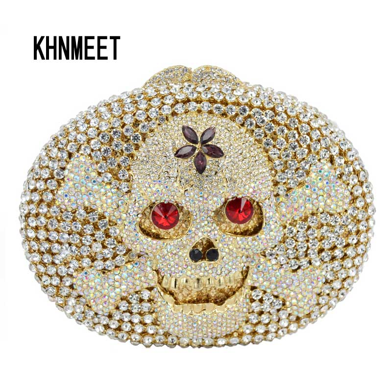 Latest Skull Shape Evening Bag Luxury Crystal Clutches Evil Eye Diamond Party Purse Wedding Bride Golden Banquet Bag Handbag 460 brand designer luxury crystal multicolor clutch bag women diamond evening bag golden oval wedding banquet purse handbags sc467