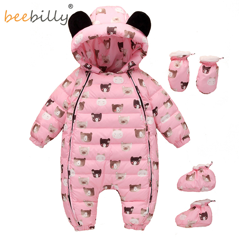 Christmas Deer Baby Rompers Duck Down Winter Overalls Thick Warm Jumpsuit 2017 Newborn Clothes Infant Boys Girls Outwear free shipping winter newborn infant baby clothes baby boys girls thick warm cartoon animal hoodie rompers jumpsuit outfit yl