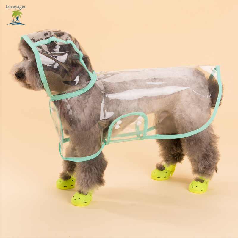 Pet clothes transparent clear Dog Raincoat xs pink Waterproof Dog Rain jacket coat poncho with