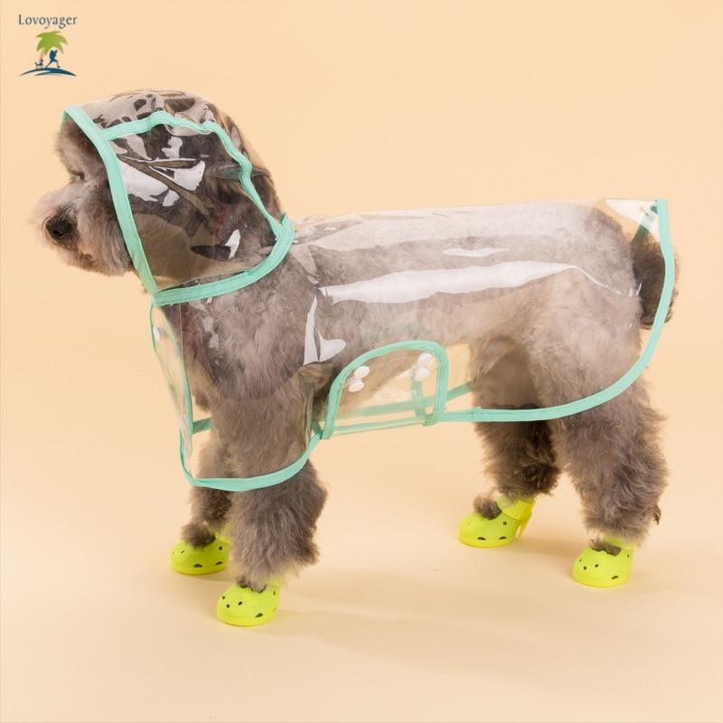 पालतू कपड़े पारदर्शी स्पष्ट डॉग रेनकोट छोटे और बड़े कुत्ते के लिए हुड के साथ गुलाबी वाटरप्रूफ डॉग रेन जैकेट कोट पोंचो
