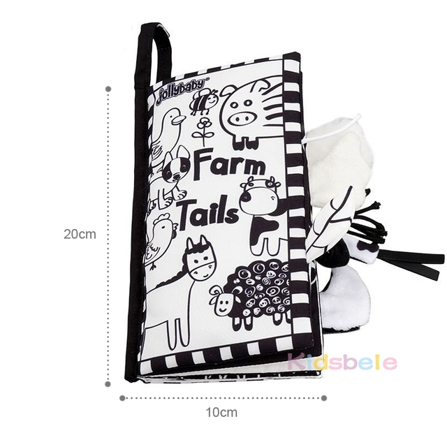 Soft Tails Animals Book Baby Toys Black White Early Learning Education Toys For Children Cloth Rustle