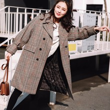 CM316 England Liner Add Cotton Thicken Long Plaid Coat Women Winter Warm Slim Full Sleeve Double Breasted Womens Outerwear Coats