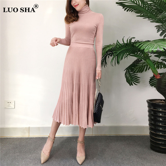 b1671c1c177 LUOSHA 2Piece Set Women Autumn Winter Knitted Turtleneck Pullover Top And  Pleated A Line Skirt Set 2Pcs Bling Silk Sweater Suits