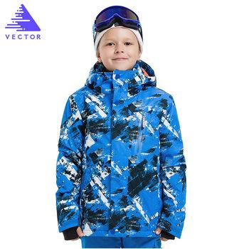 Chłopcy zimowe narty terenowe kurtki śniegowe spodnie-20-30 stopni dzieci wiatroszczelne wodoodporne ciepłe dzieci narciarstwo kurtka snowboardowa tanie i dobre opinie VECTOR CN (pochodzenie) POLIESTER NYLON COTTON Z kapturem Skiing Dobrze pasuje do rozmiaru wybierz swój normalny rozmiar