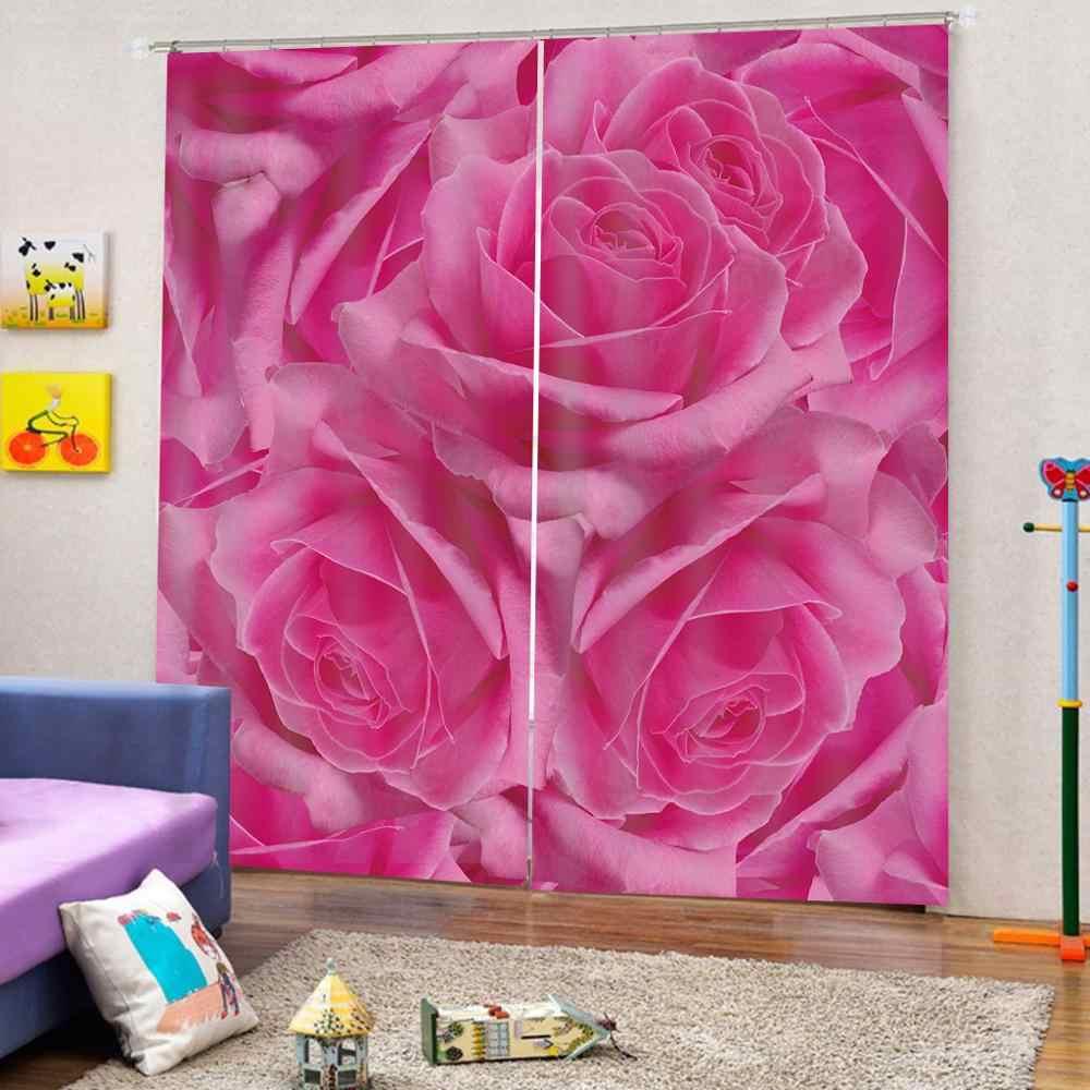 Фото 3D шторы для гостиной окна Розовые розы цветочные шторы для спальни шторы