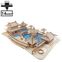 DIY 3D Wooden Puzzle Jigsaw Puzzle Montessori Educational Building Kit Toys Hobbies Gift for Children Adult Suzhou gardens model