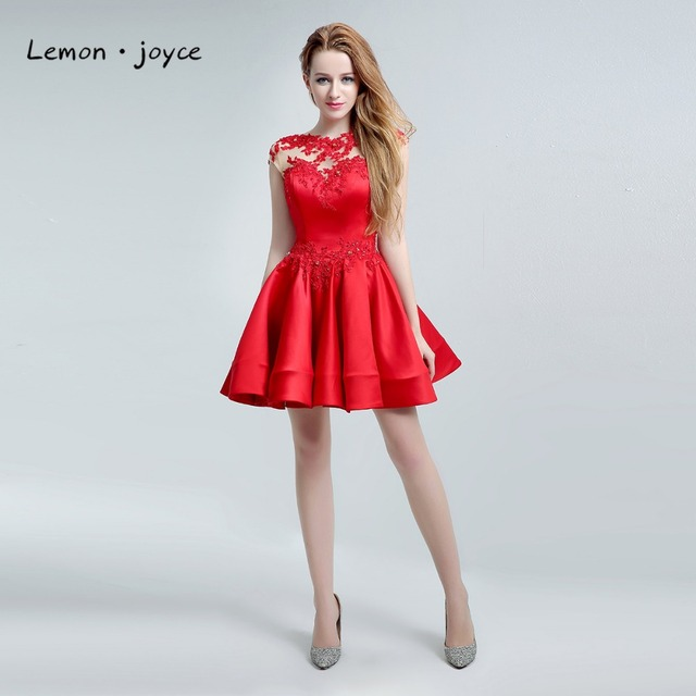 Red Short Homecoming Dresses 2018 New Style O Neck Applique Illusion ...