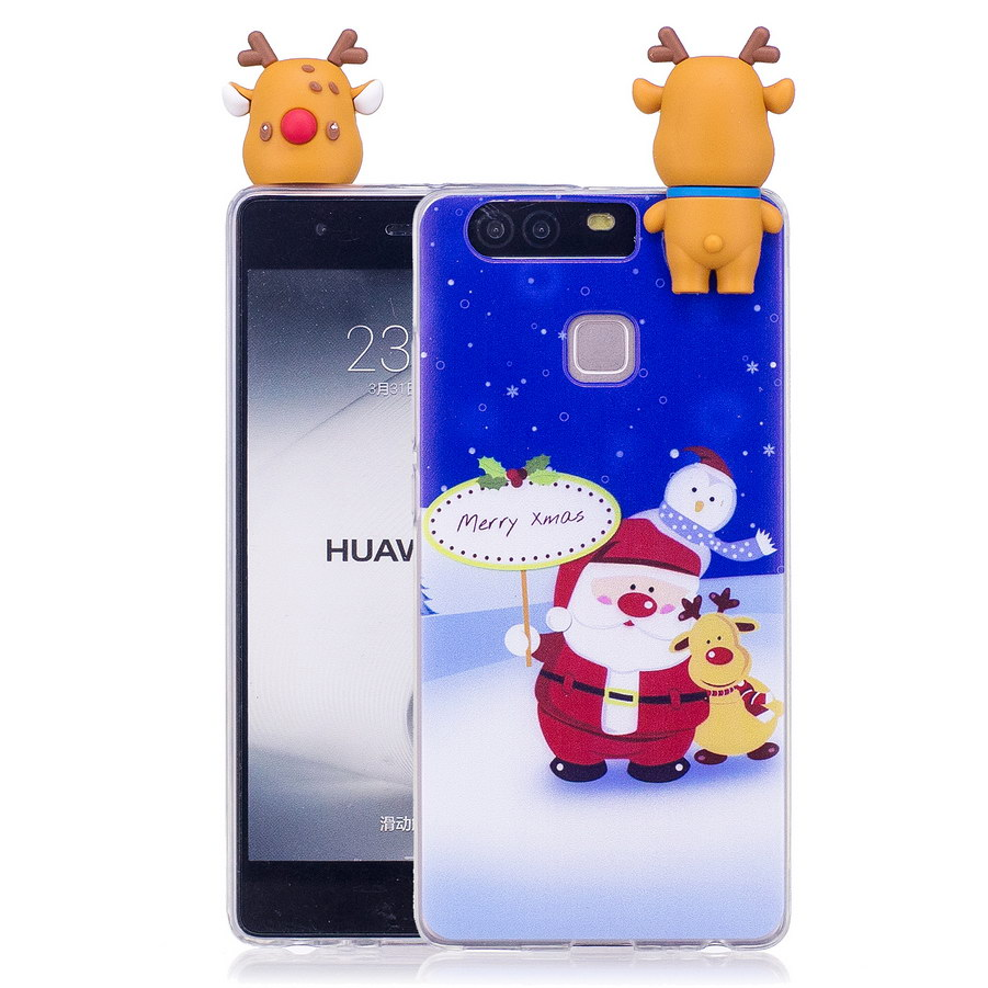 3D Christmas Tree Transparent Phone Case For Huawei P9 Santa Claus Snowman Xmas Cases For Huawei P9 Lite TPU Silicone Cover