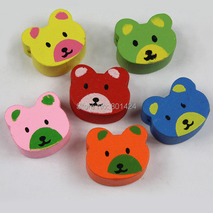 20pcs 32-86 mixed colour lovely bear wooden beads charm craft accessores for children jewelry fashion beads