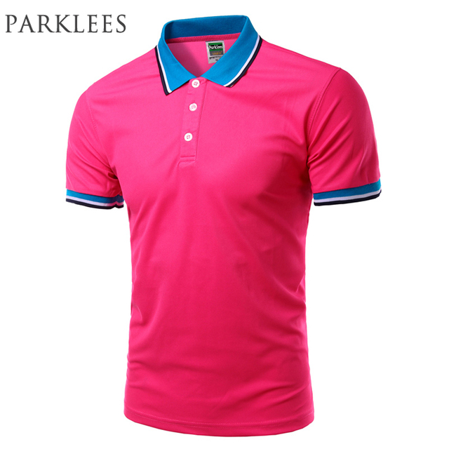 New Rose Red Polos 2016 Summer Mens Fashion Solid Color Polo Shirt