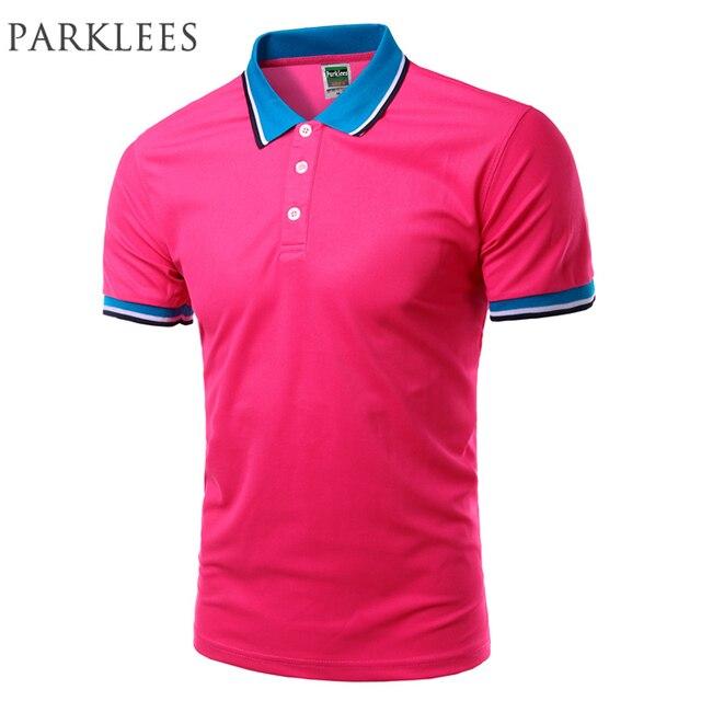 New rose red polos 2016 verano moda para hombre de color sólido polo camisa  casual marca 4ba2d8e4c24bf