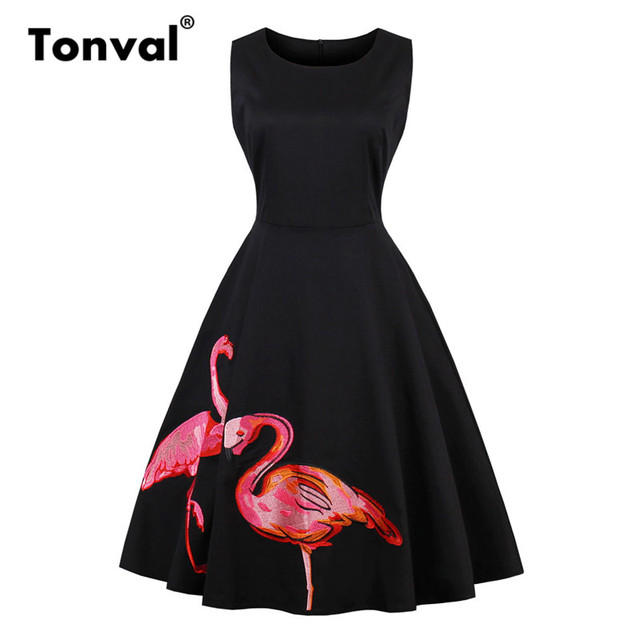 Tonval Flamingo Embroidery Black Dress Women Rockabilly Retro Summer