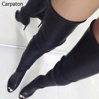 Women Fashion Solid Black Leather Tight High Boots Open Toe Back Zipper Over The Knee Boots